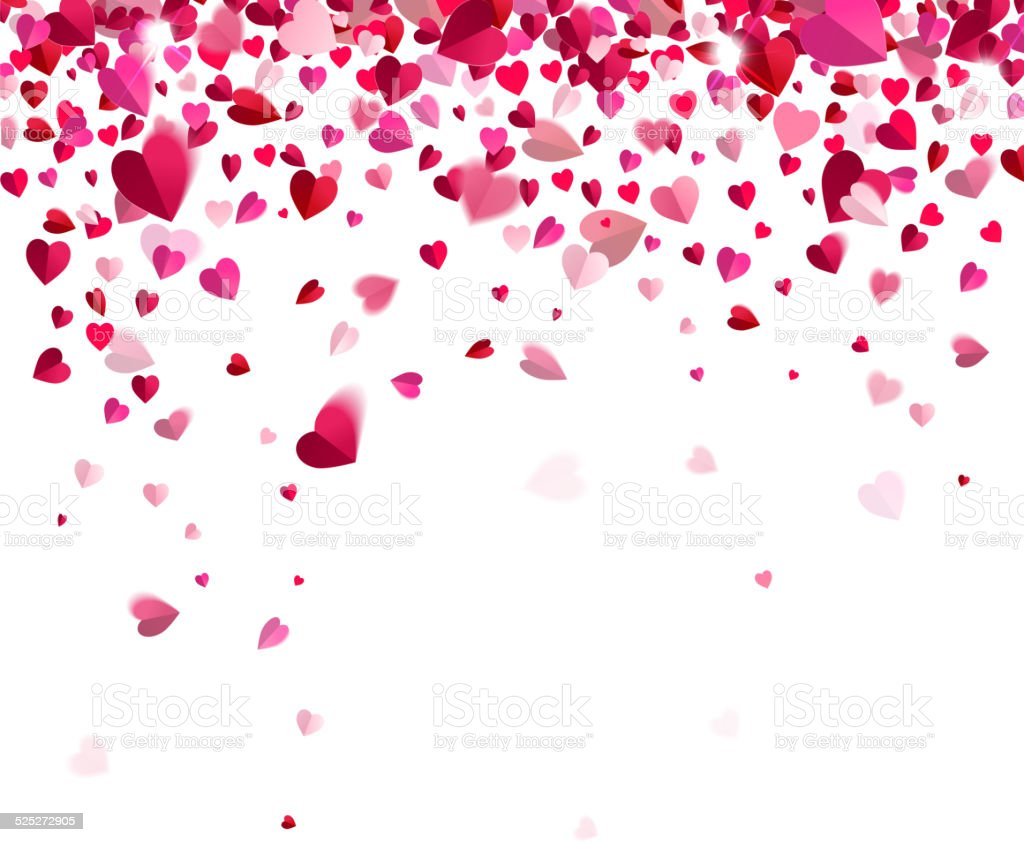 Confetti of hearts vector art illustration