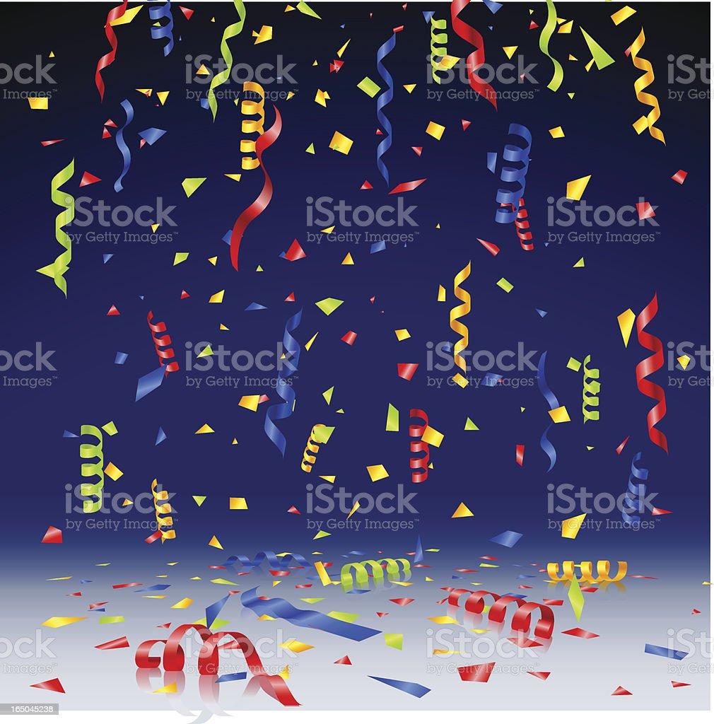 confetti on dark blue background royalty-free stock vector art