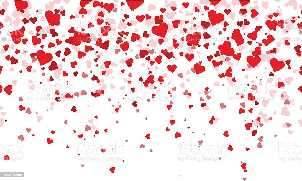 Confetti red hearts fall background vector art illustration