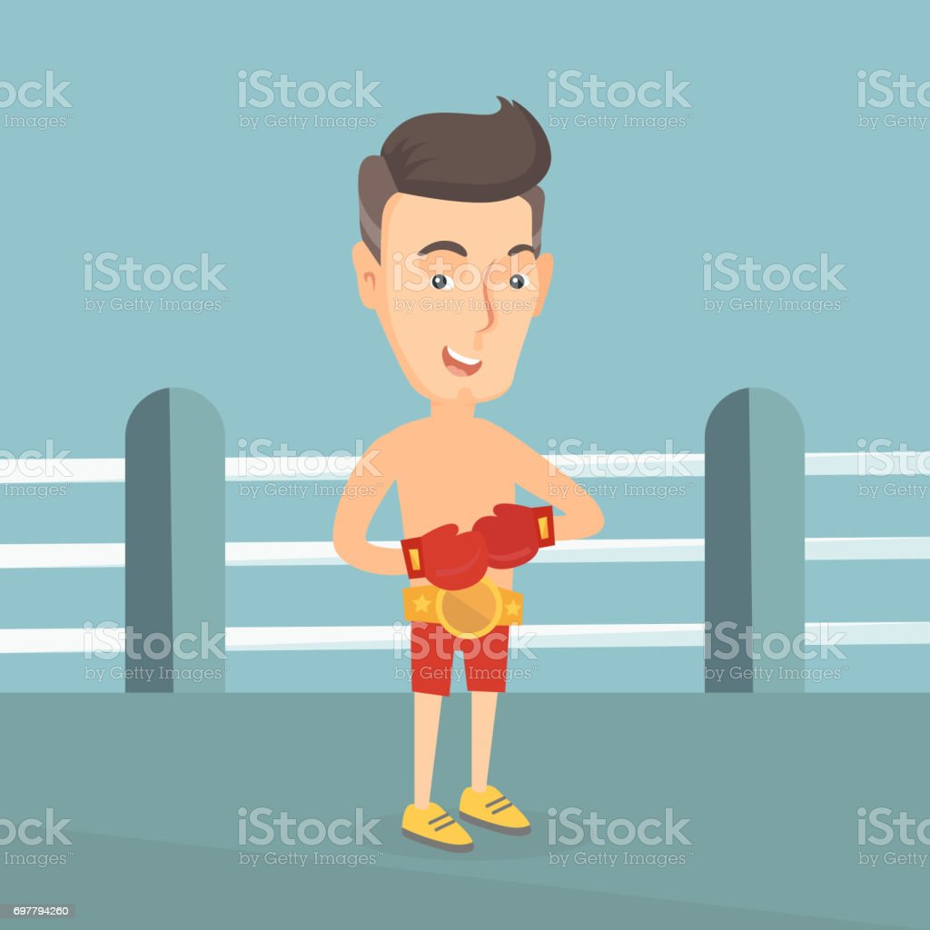Confident boxer in the ring vector illustration vector art illustration