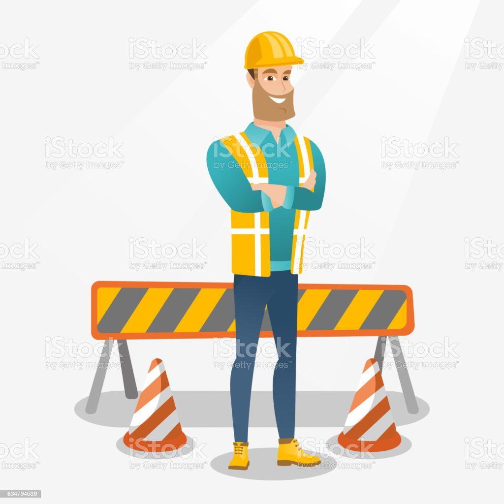 Confident builder with arms crossed vector art illustration