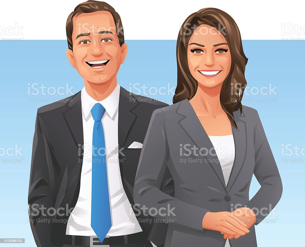Confident Businessman And Businesswoman vector art illustration
