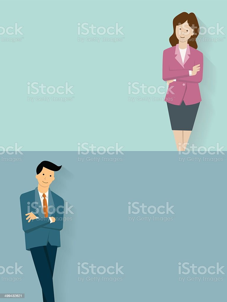 Confident businessman and woman vector art illustration