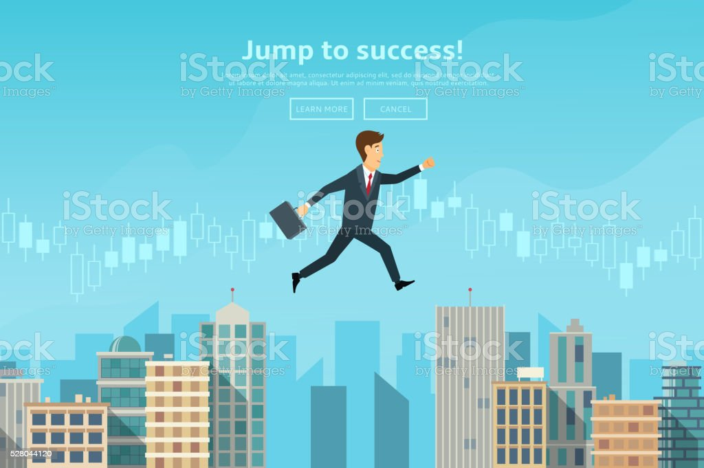 Confident businessman leaping between buildings royalty-free stock vector art