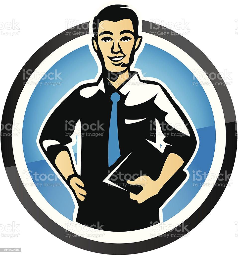 Confident Customer Service Salesman give Solution vector art illustration