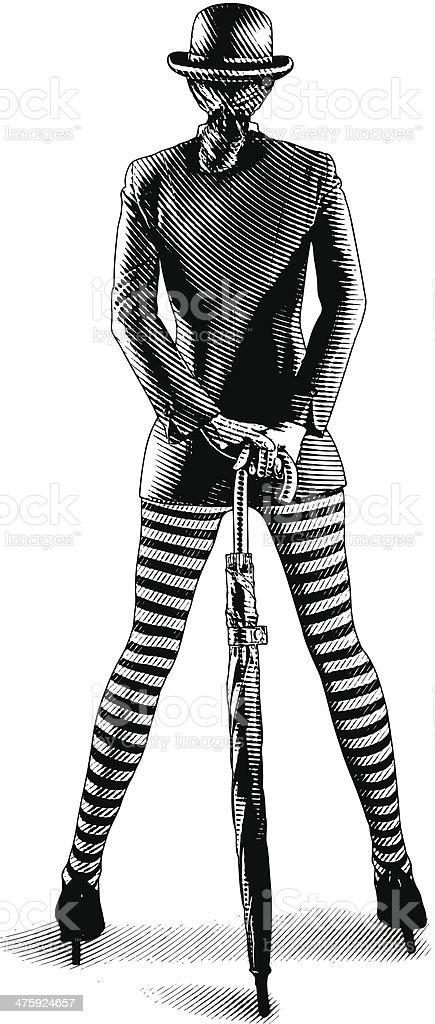 Confident London Businesswoman. Rear View vector art illustration