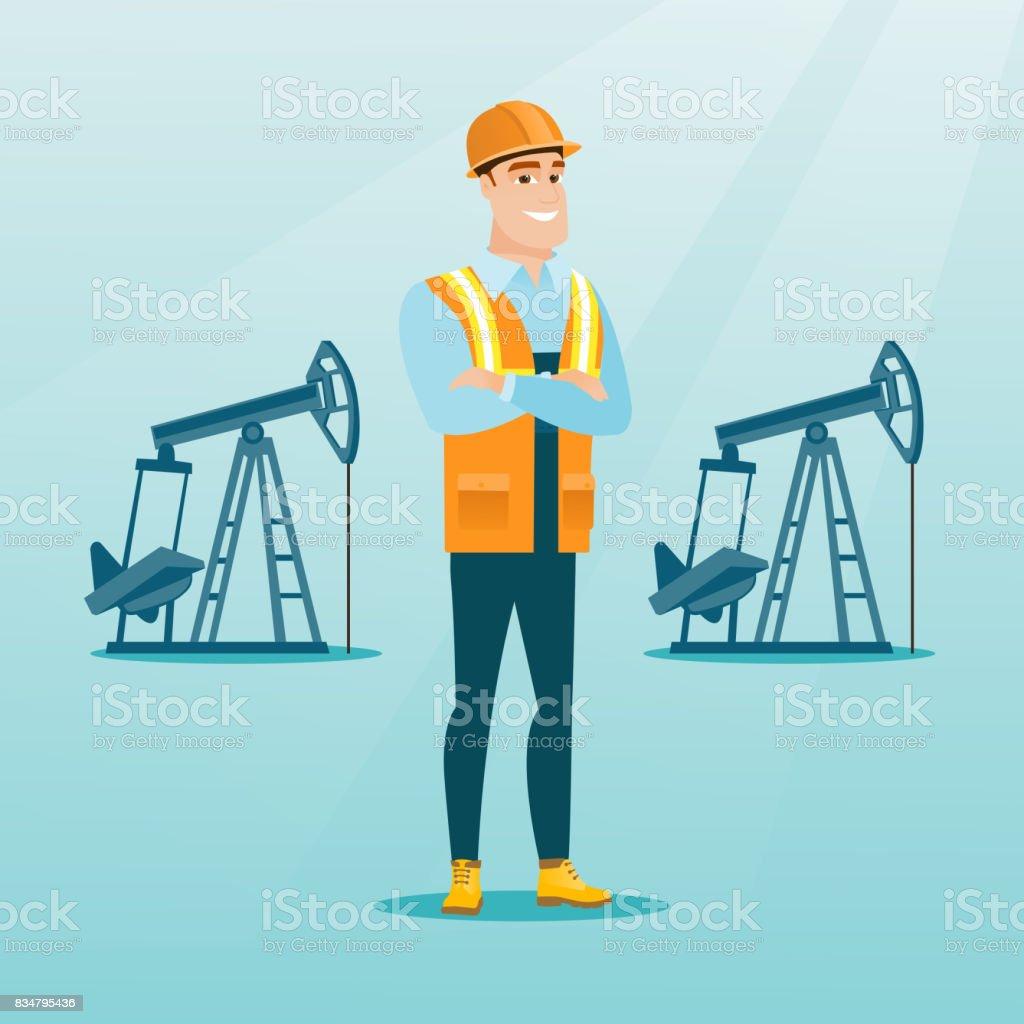 Confident oil worker vector illustration vector art illustration