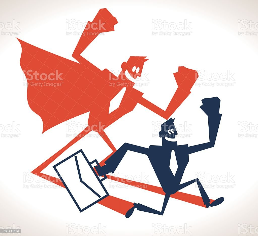 Confident strong businessman and super hero shadow, running with briefcase vector art illustration