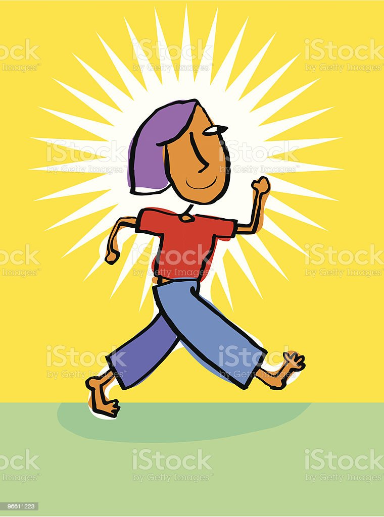 confident women or girl walking with pride royalty-free stock vector art