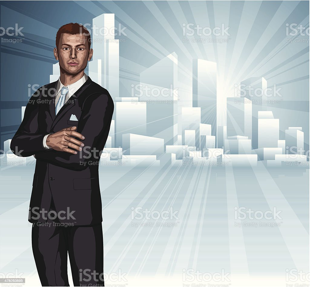 Confident young businessman city skyline concept royalty-free stock vector art