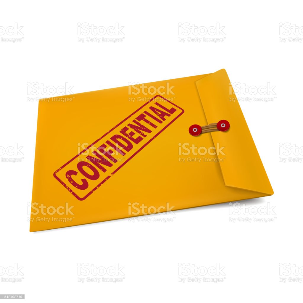 confidential stamp on manila envelope vector art illustration