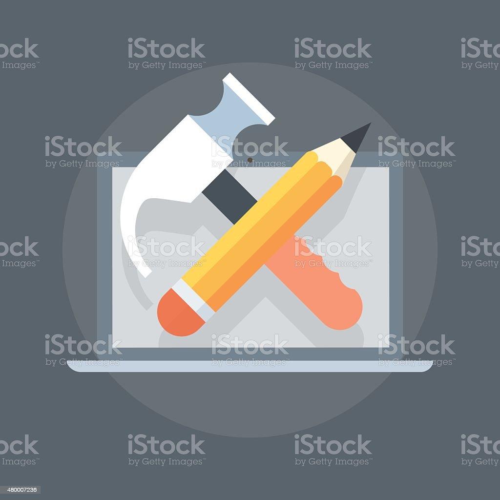 Configuration Coding theme flat style, minimal, stylish colorful vector art illustration