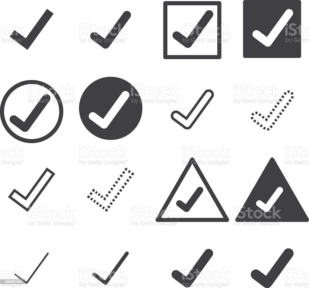 confirm icons set vector art illustration
