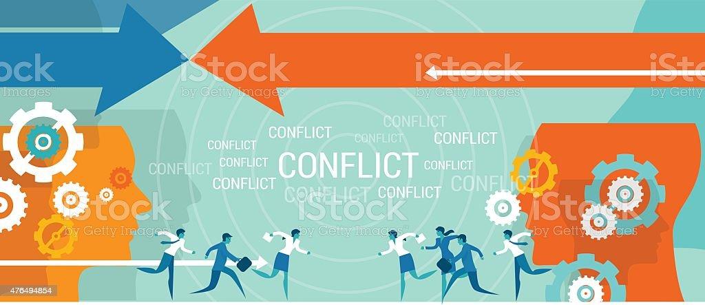 conflict management business problem vector art illustration