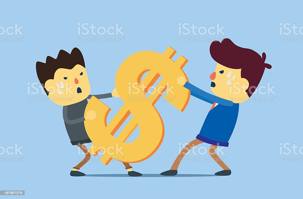 Conflict of business interest vector art illustration