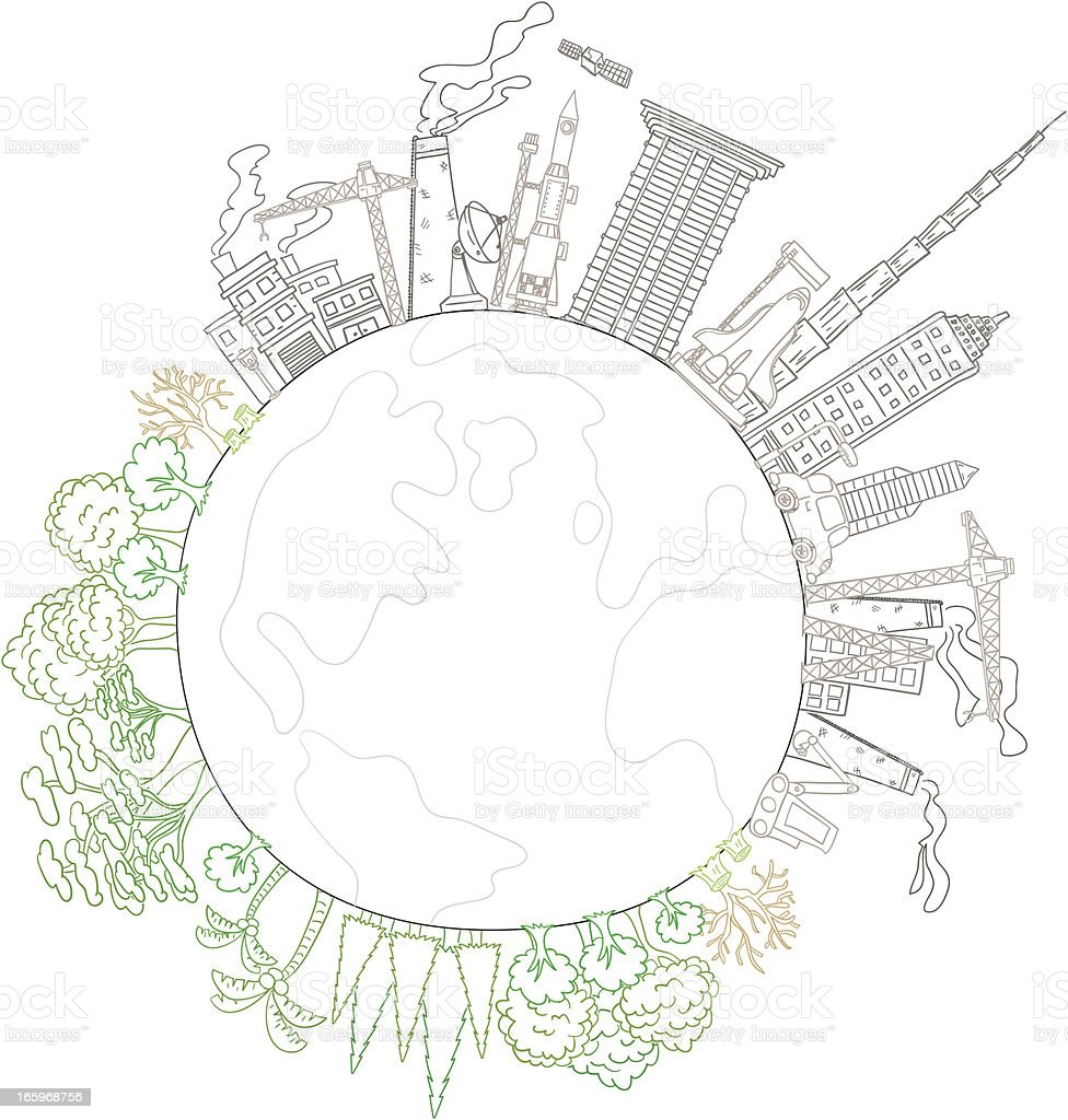 Conflict of Pollution and Environmental Friendly royalty-free stock vector art