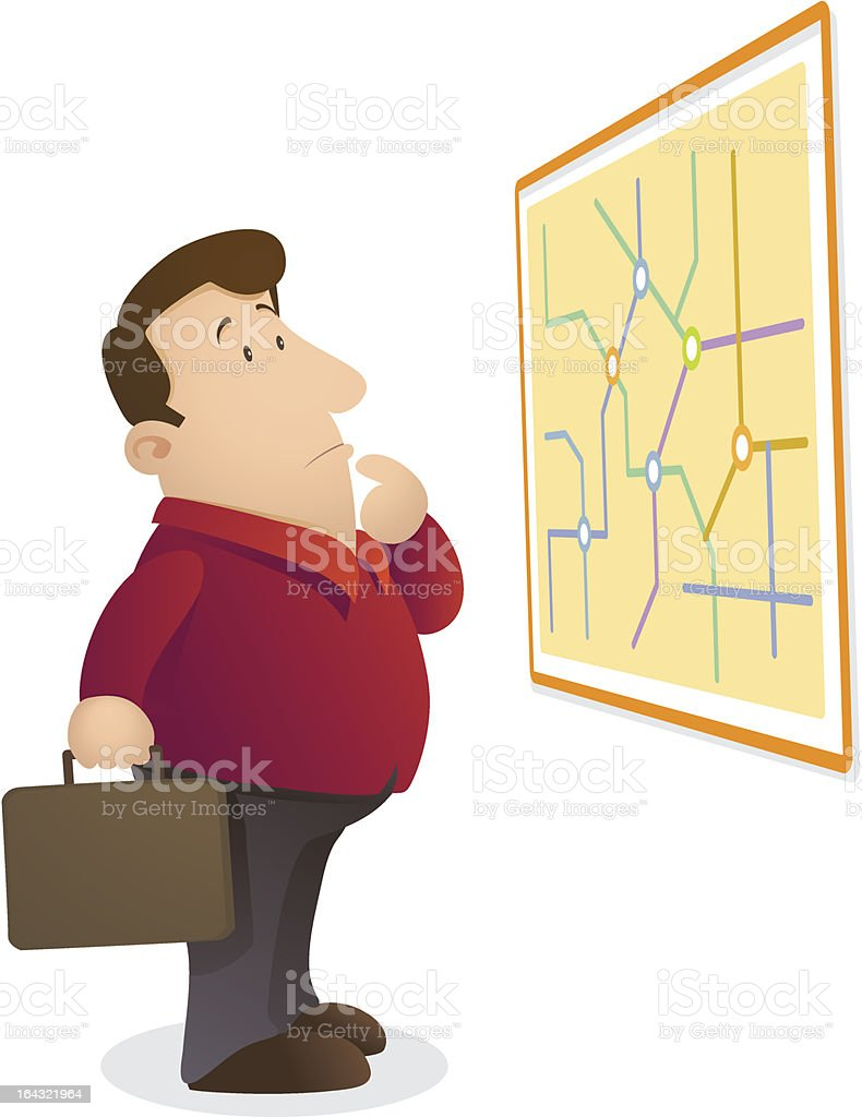 Confuse reading map royalty-free stock vector art