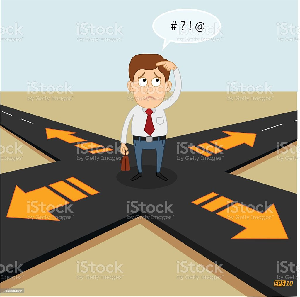 Confused and which way to go vector art illustration