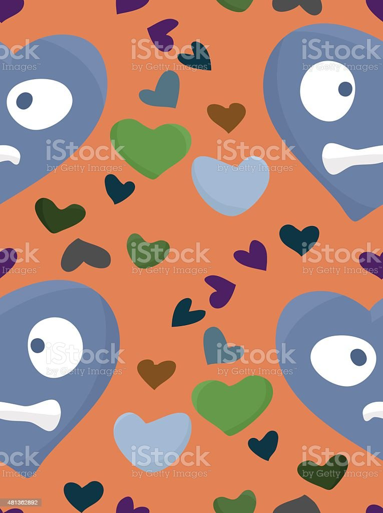 Confused Blue Heart Pattern vector art illustration