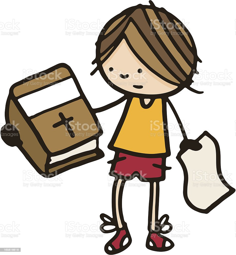 Confused boy holding a bible royalty-free stock vector art