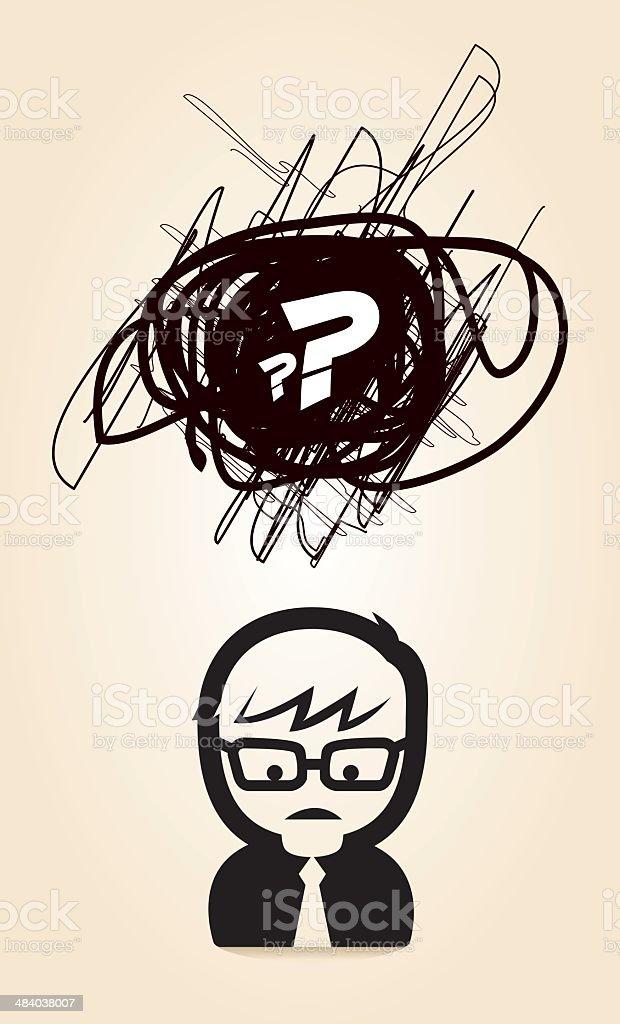 Confused Boy vector art illustration