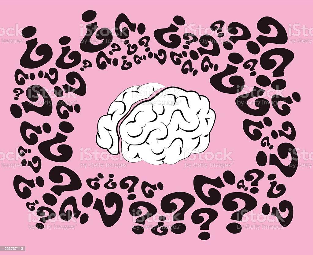 confused brain vector art illustration