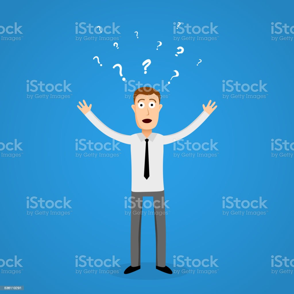 Confused business man in panic. vector art illustration