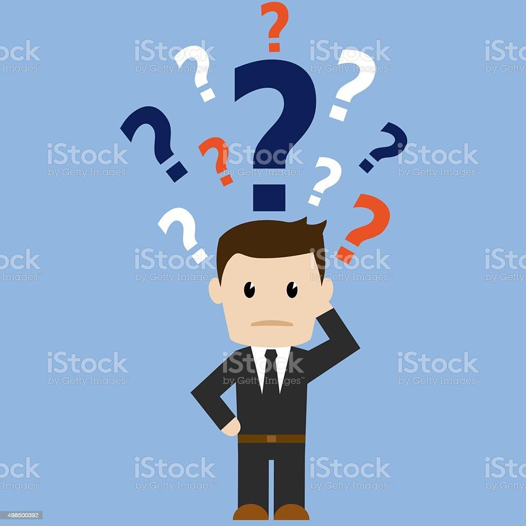 Confused business man vector art illustration