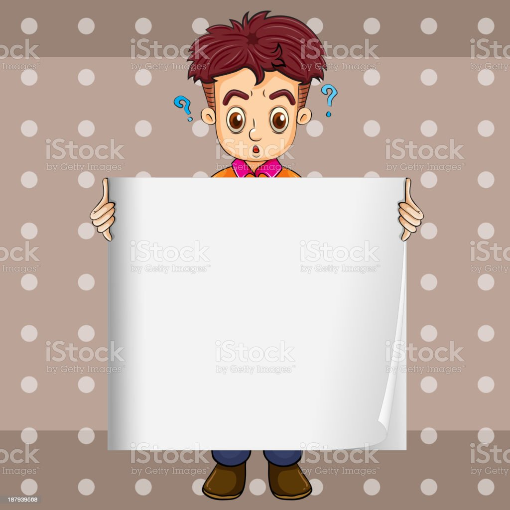 confused businessman holding an empty signage royalty-free stock vector art