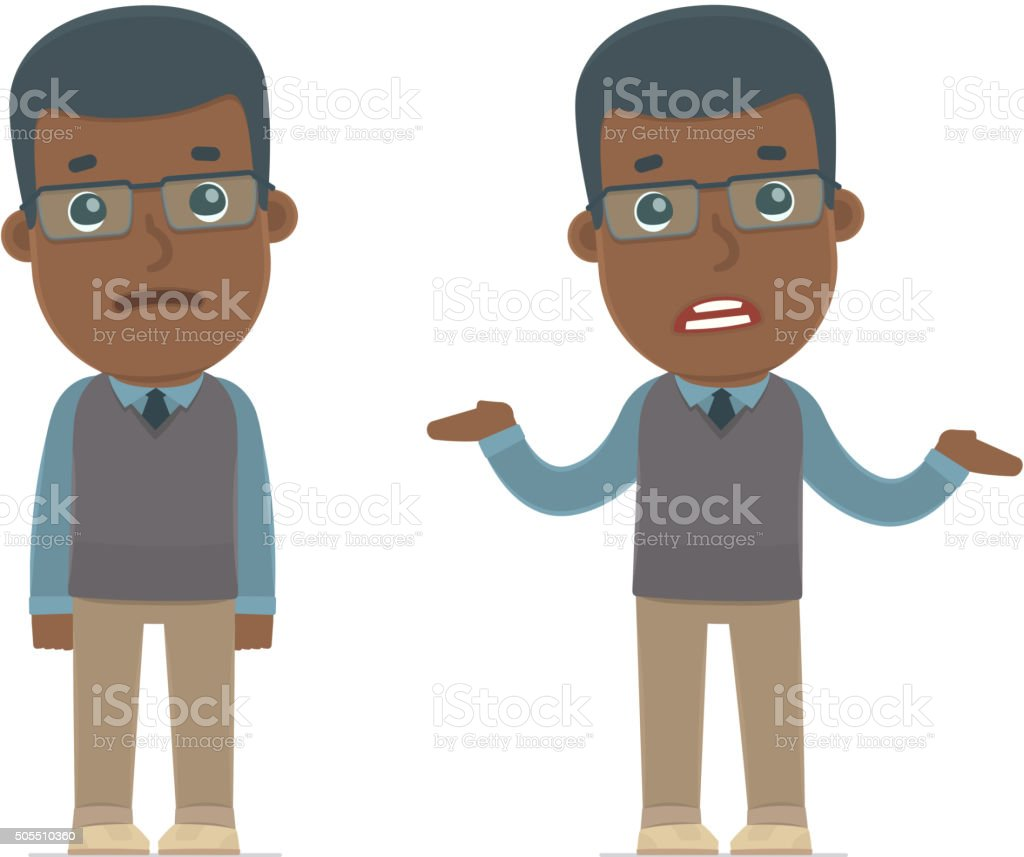 Confused  Character African American Teacher in ignorance and do vector art illustration