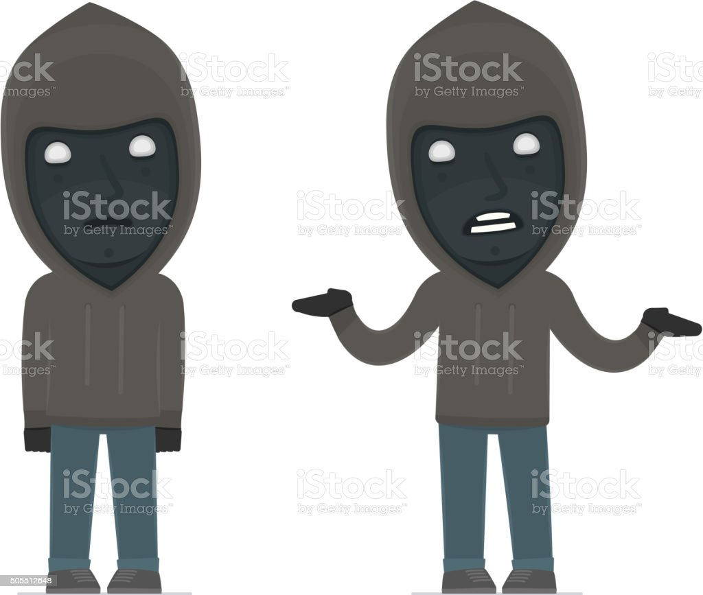 Confused  Character Anonymous Hackers in ignorance and does not vector art illustration