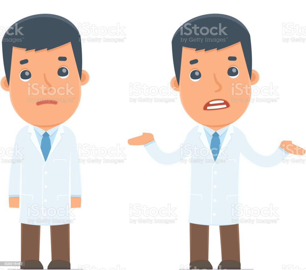Confused  Character Doctor in ignorance and does not know vector art illustration