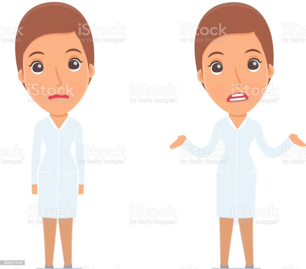 Confused  Character Nurse in ignorance and does not know vector art illustration