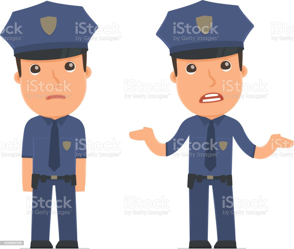 Confused  Character Officer in ignorance and does not know what vector art illustration