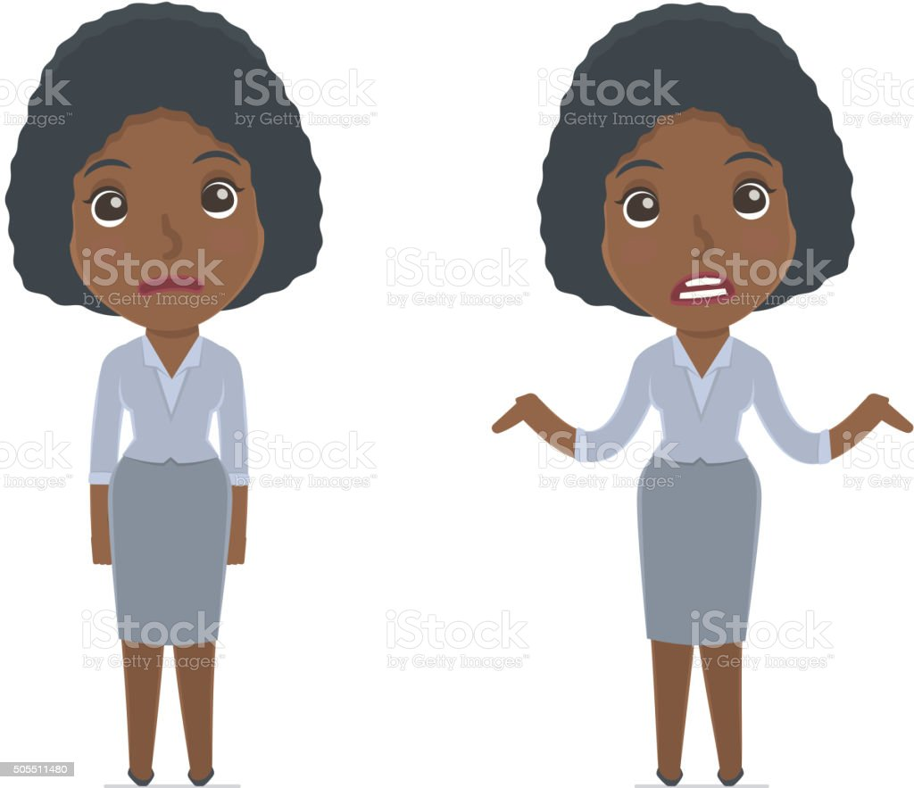 Confused  Character Social Worker in ignorance and does not know vector art illustration