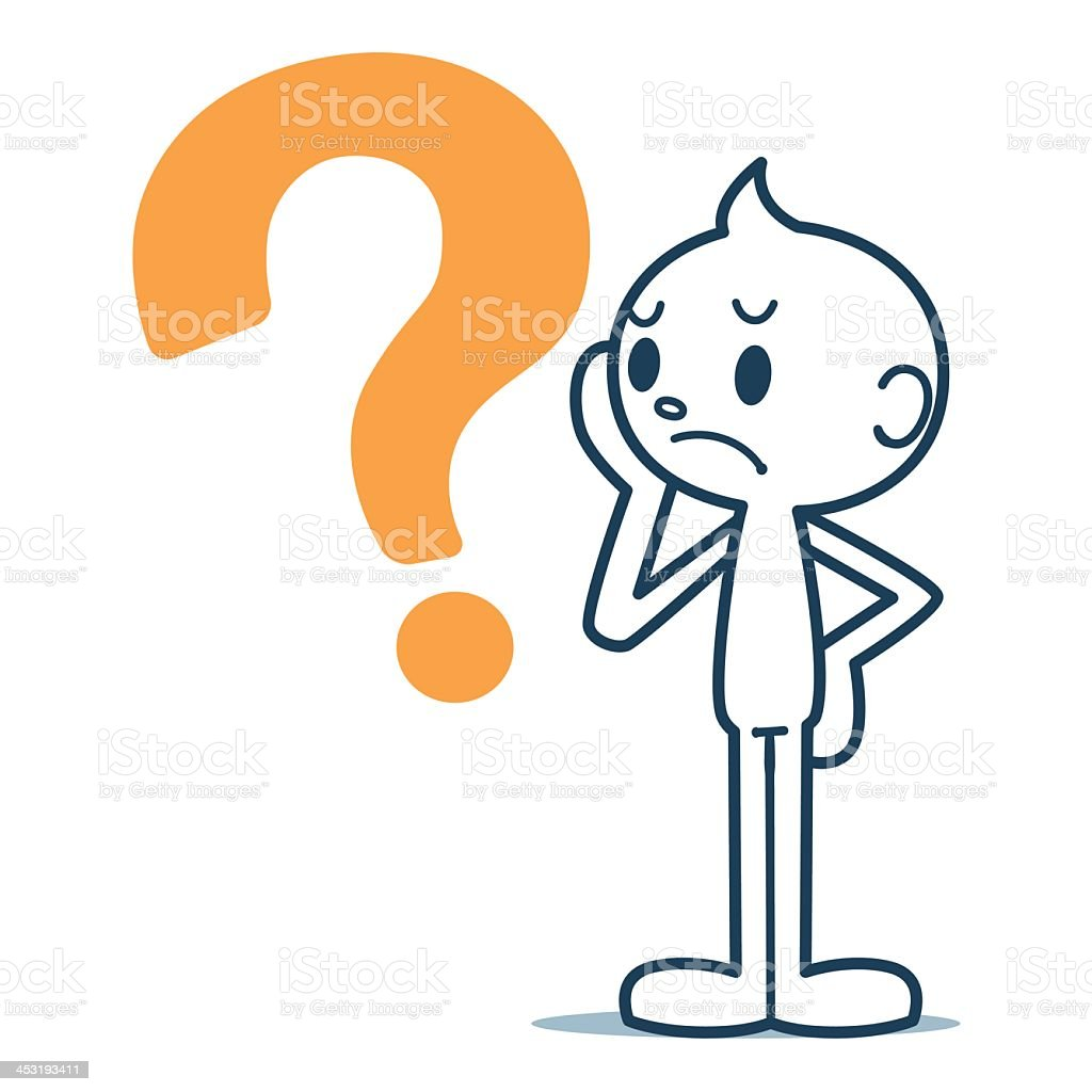 A confused figure with a question mark next to him vector art illustration