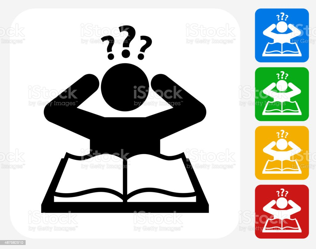 Confused Learning Icon Flat Graphic Design vector art illustration