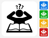 Confused Learning Icon Flat Graphic Design
