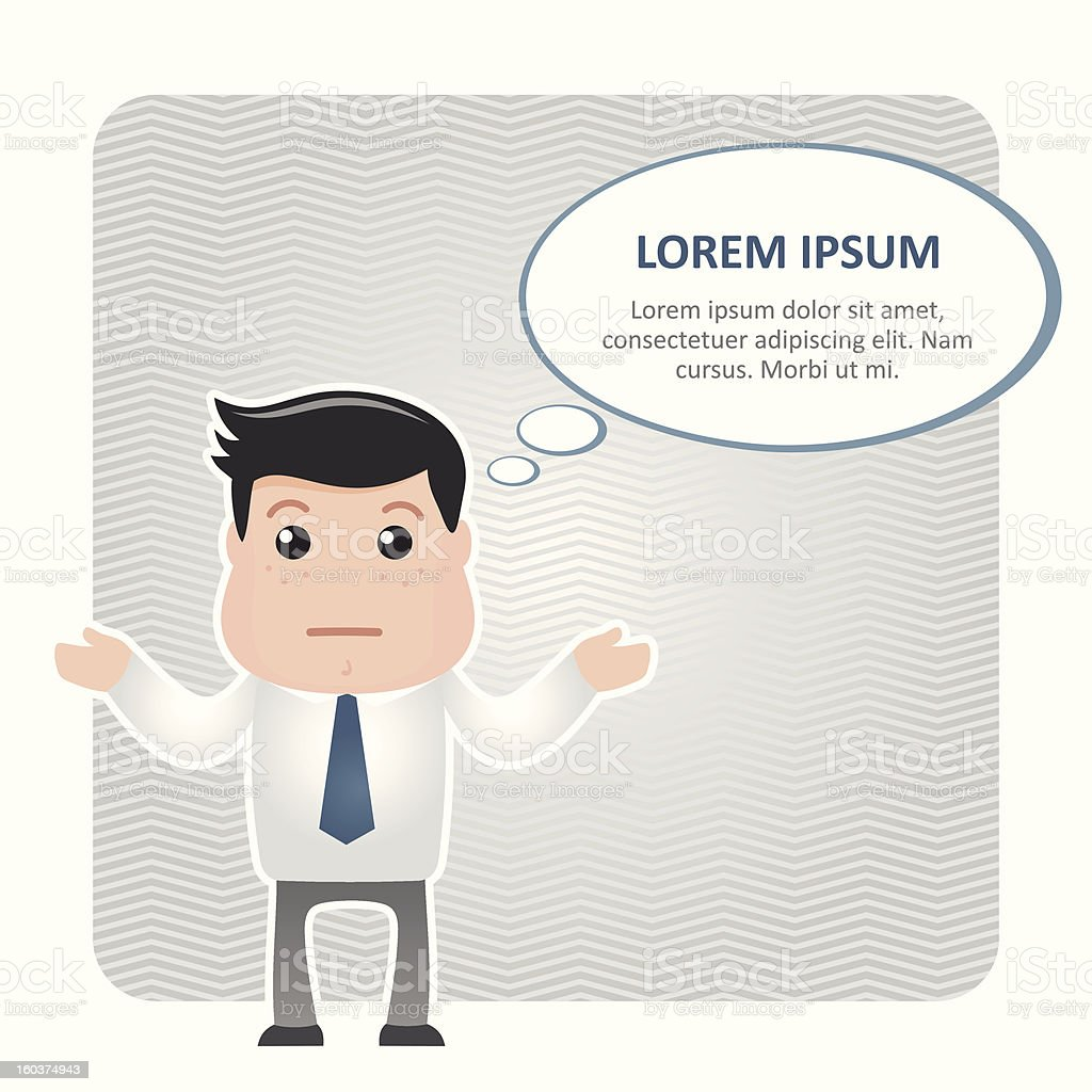 confused man in a tie and speech bubble royalty-free stock vector art