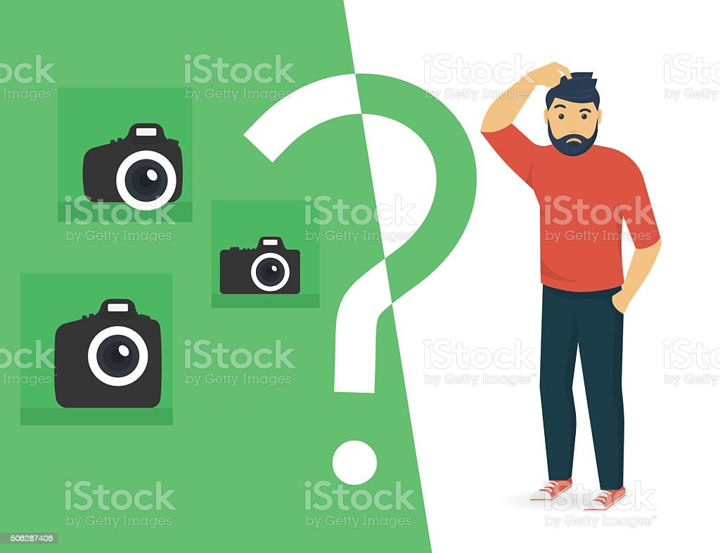 Confused man is choosing a camera vector art illustration