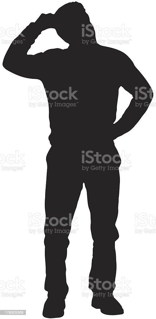 Confused man silhouette vector art illustration