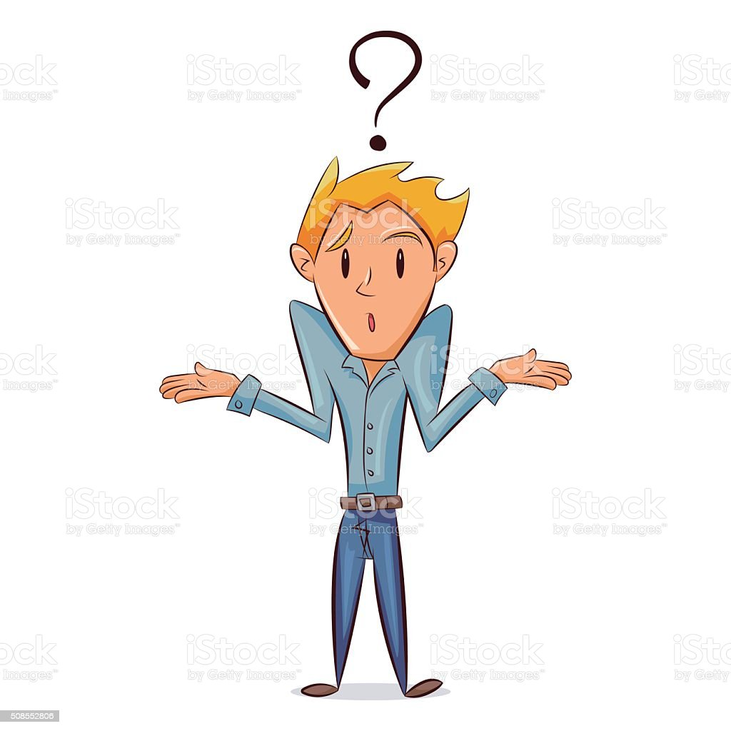 Confused man vector art illustration