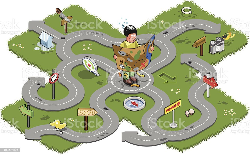 Confused man with map has navigation problems royalty-free stock vector art