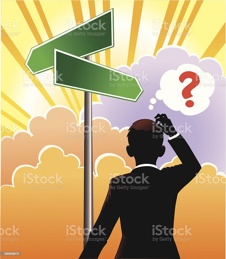Confused Person at the Crossroad Sign royalty-free stock vector art
