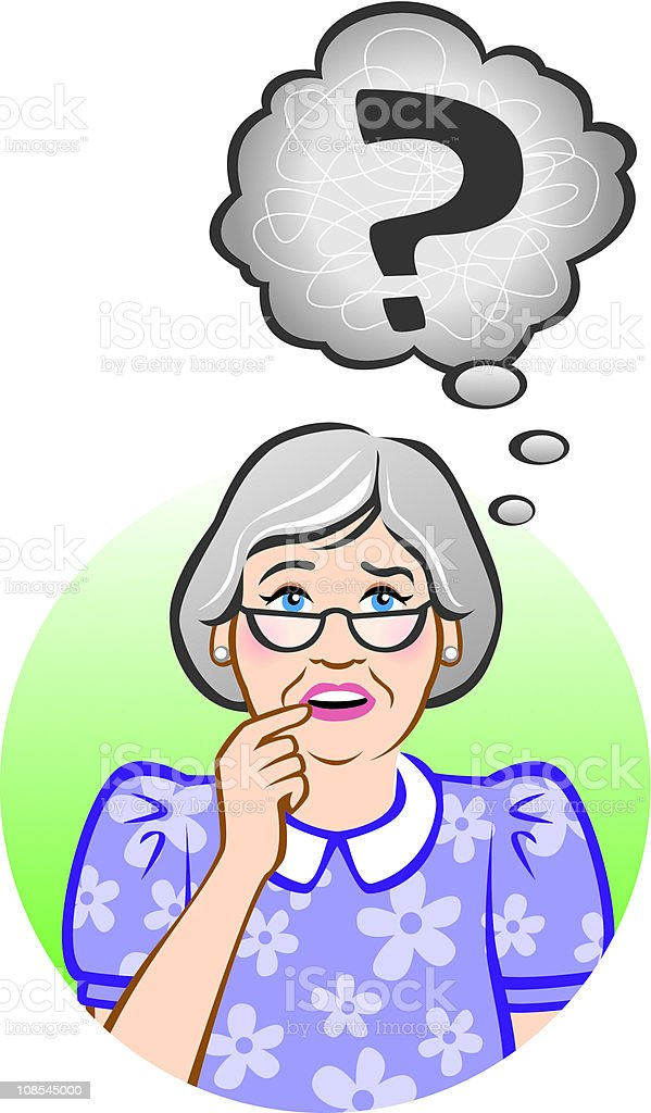Confused Senior Woman royalty-free stock vector art
