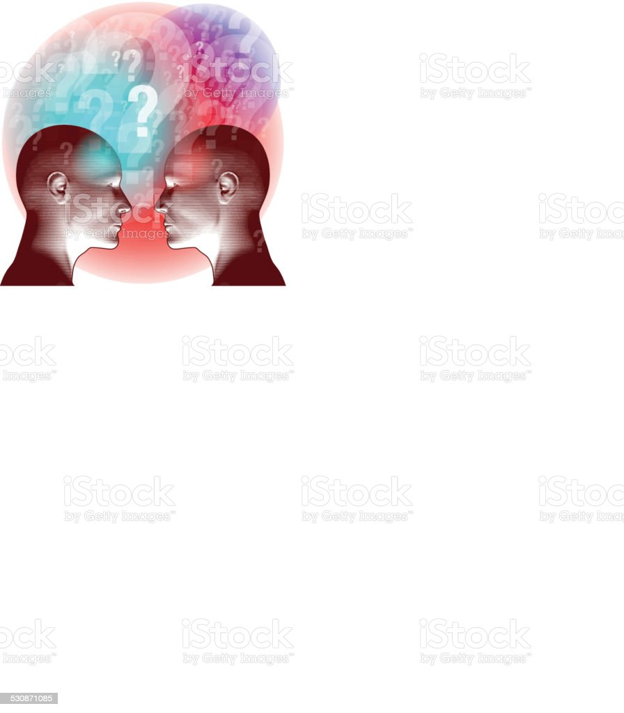 Confused Thoughts Shared vector art illustration