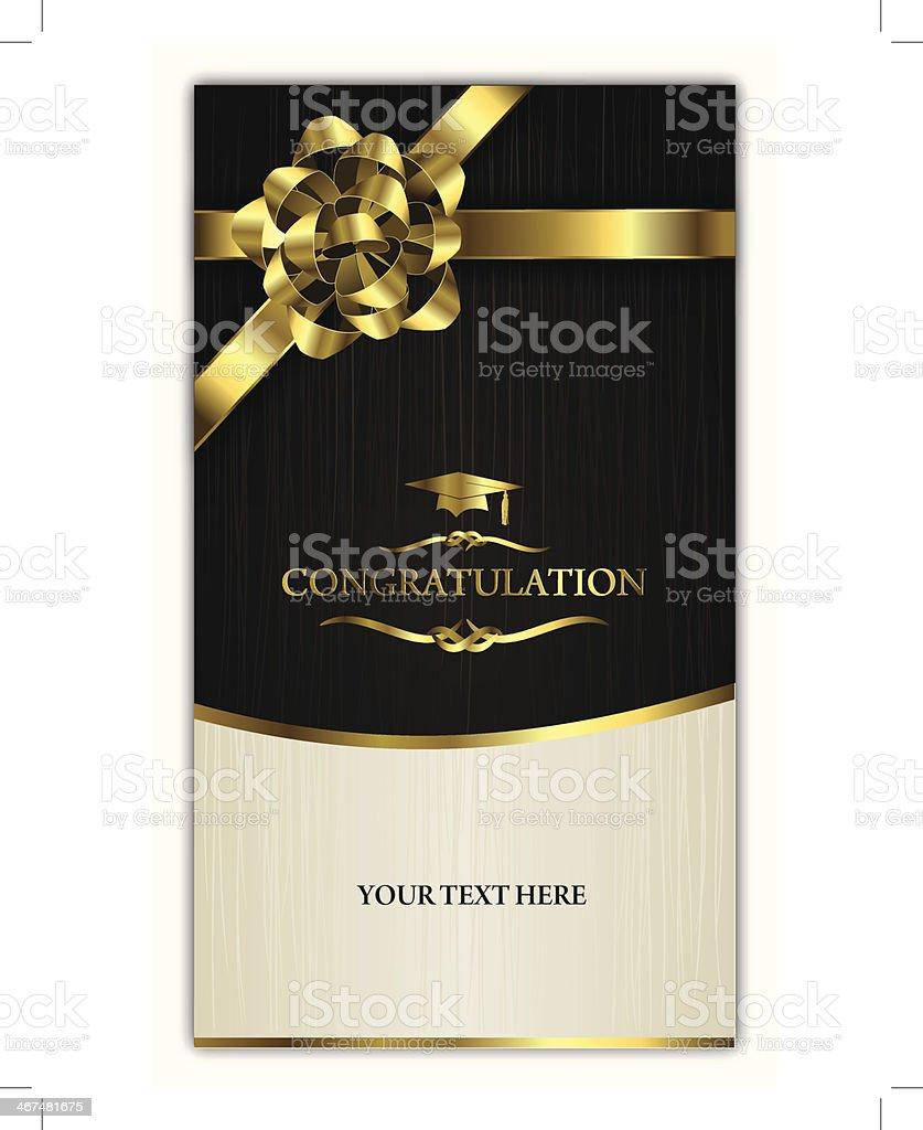 congratulating card-invitation card with golden ribbon vector art illustration