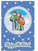Congratulation card new year with man, woman, boy, skiing in