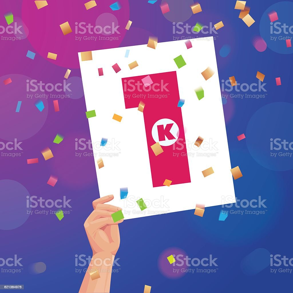 Congratulations 1K followers thanks banner background with confetti vector art illustration