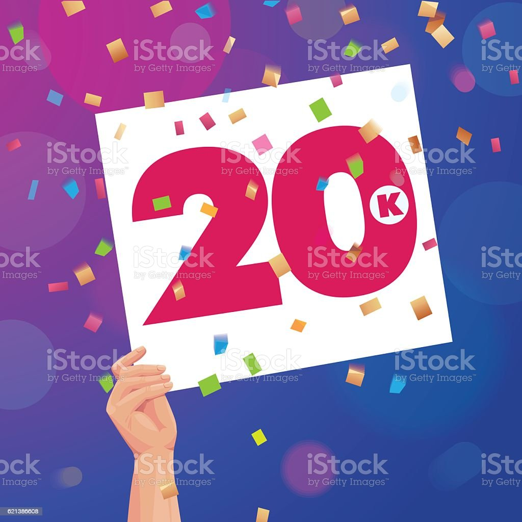 Congratulations 20K followers thanks banner background with confetti vector art illustration